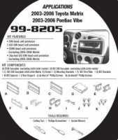 рамка для магнтолы Metra 99-8205 для Toyota Matrix/Pontiac Vibe 03-07